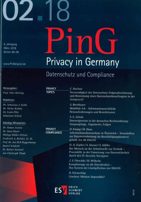 """Veröffentlichung """"Mobilität 4.0"""" in der Zeitschrift PinG erschienen"""